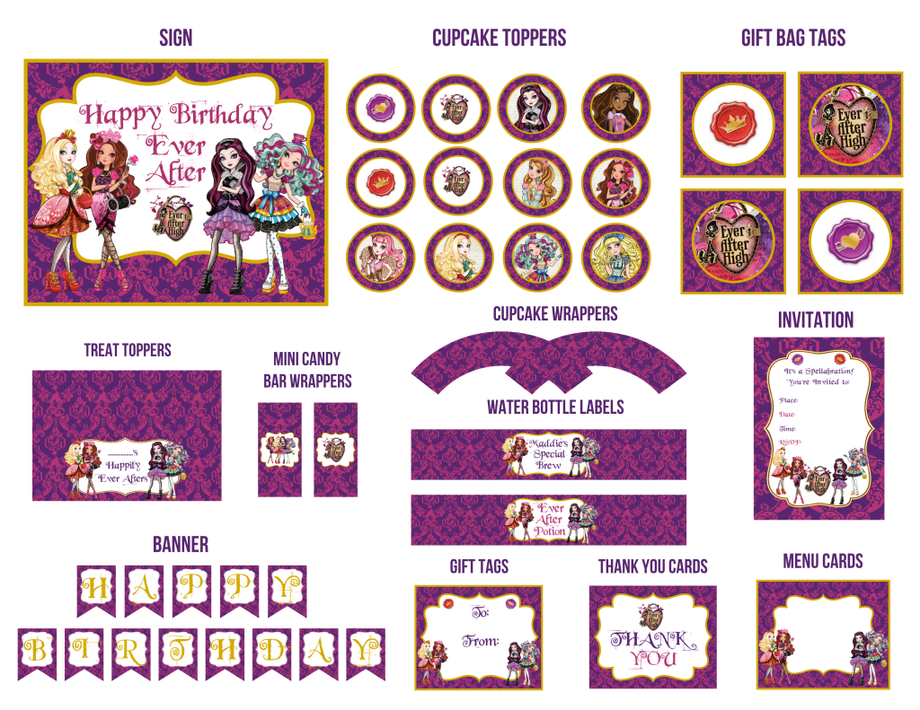 12 Piece Printable Ever After High Birthday Party Set Winvites
