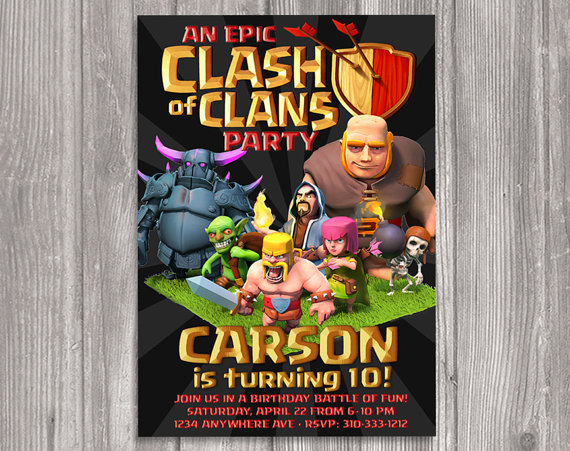 Personalized Clash of Clans birthday party invitations available at WonderandWishes etsy store.