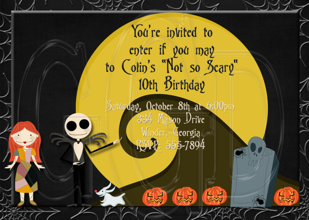 Personalized Nightmare Before Christmas party invitations available from graciegirldesigns77 Etsy store