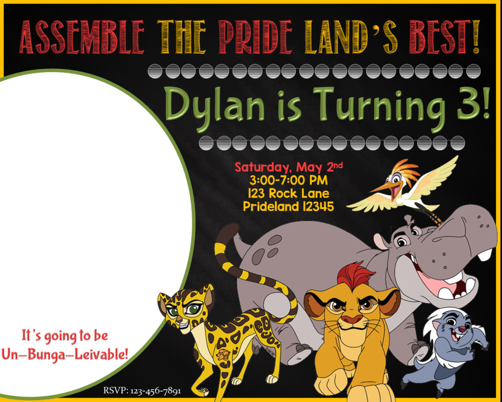 Personalized Lion Guard invitations via Etsy store SGInvitations