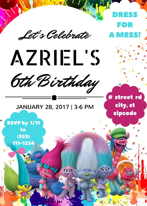Trolls birthday party invitations available from BlackbirdExpressions etsy store