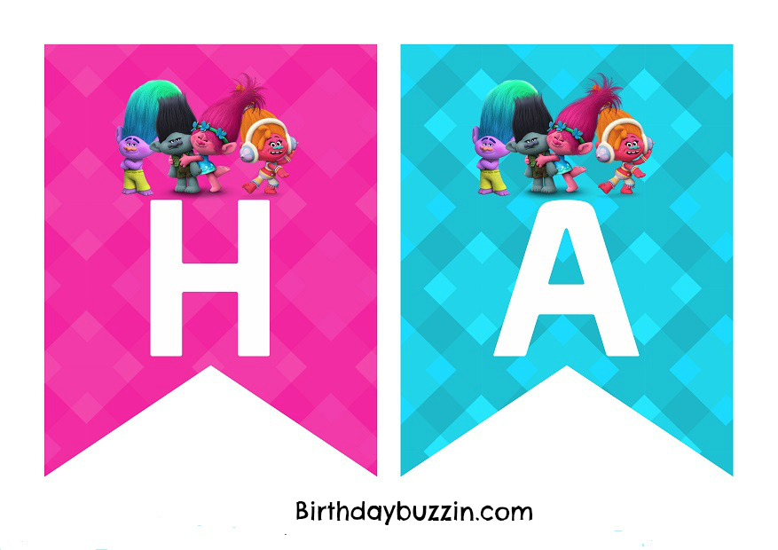 Free Printable Trolls birthday banner templates