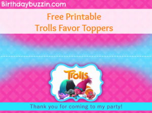 Free printable Trolls favor toppers