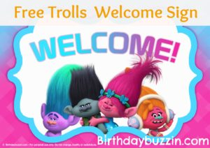 Free printable Trolls welcome sign