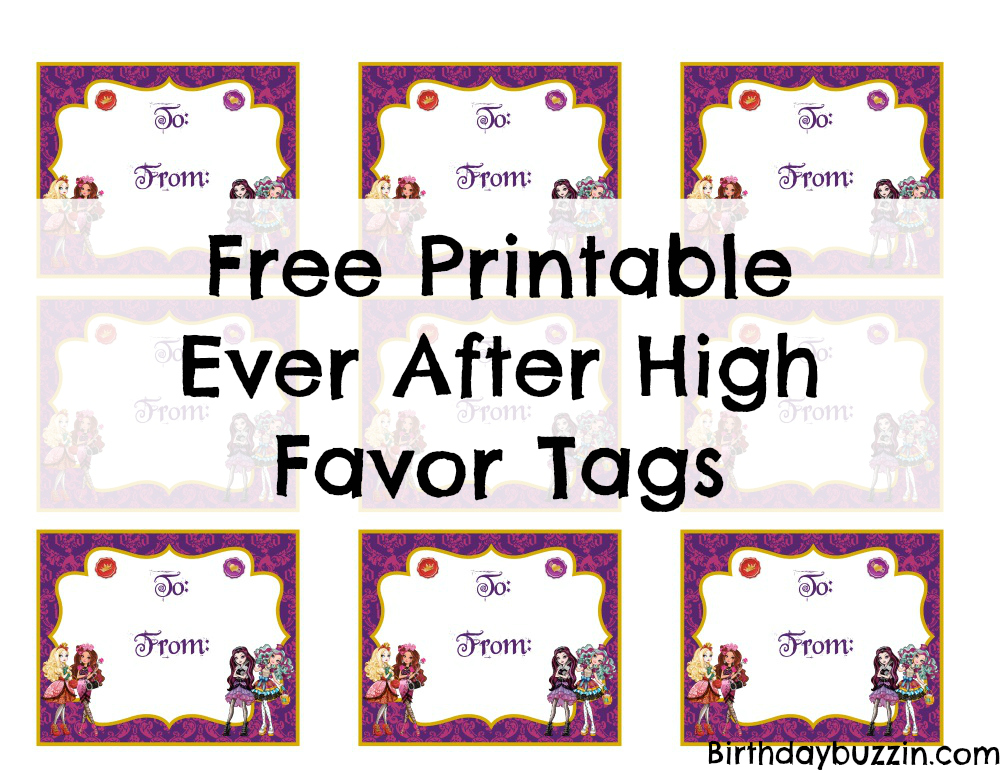 Free Printable Ever After High Favor tags