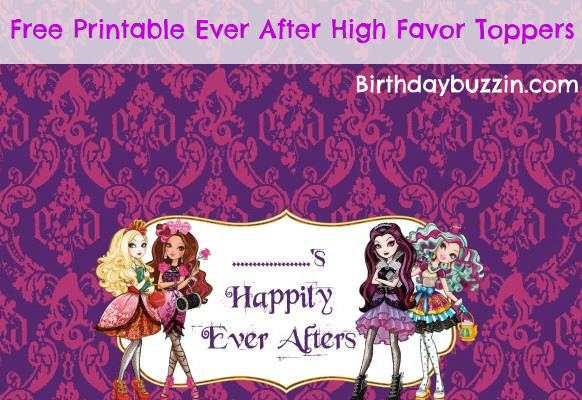 Free Printable Ever After High Favor Toppers