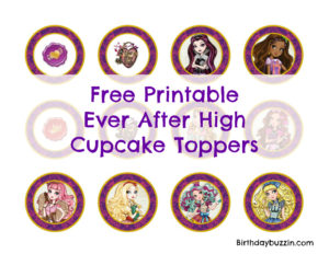 Free Printable Ever After High cupcake toppers