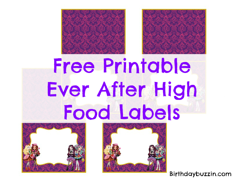Free Printable Ever After High food labels