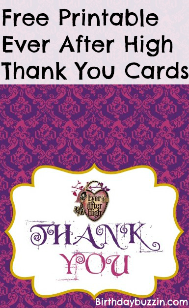 Free Printable Ever After High thank you cards