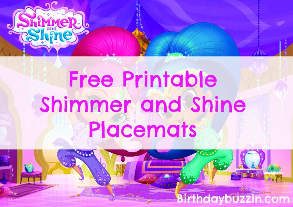 Free Printable Shimmer and Shine placemats