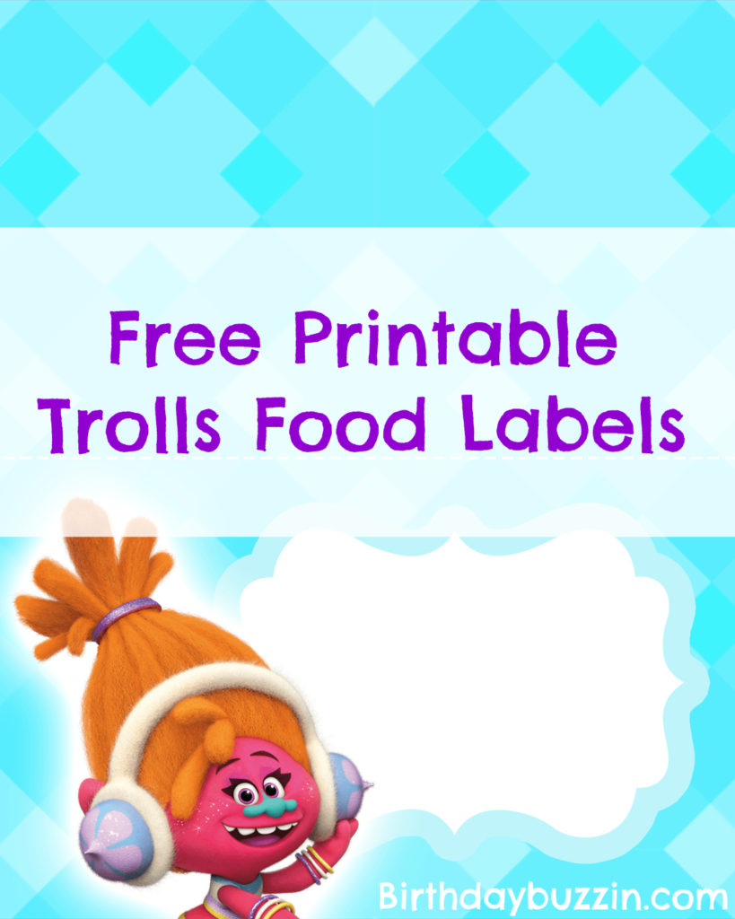 Free Printable Trolls Food Labels