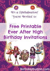 Free Printable Ever After High birthday invitations