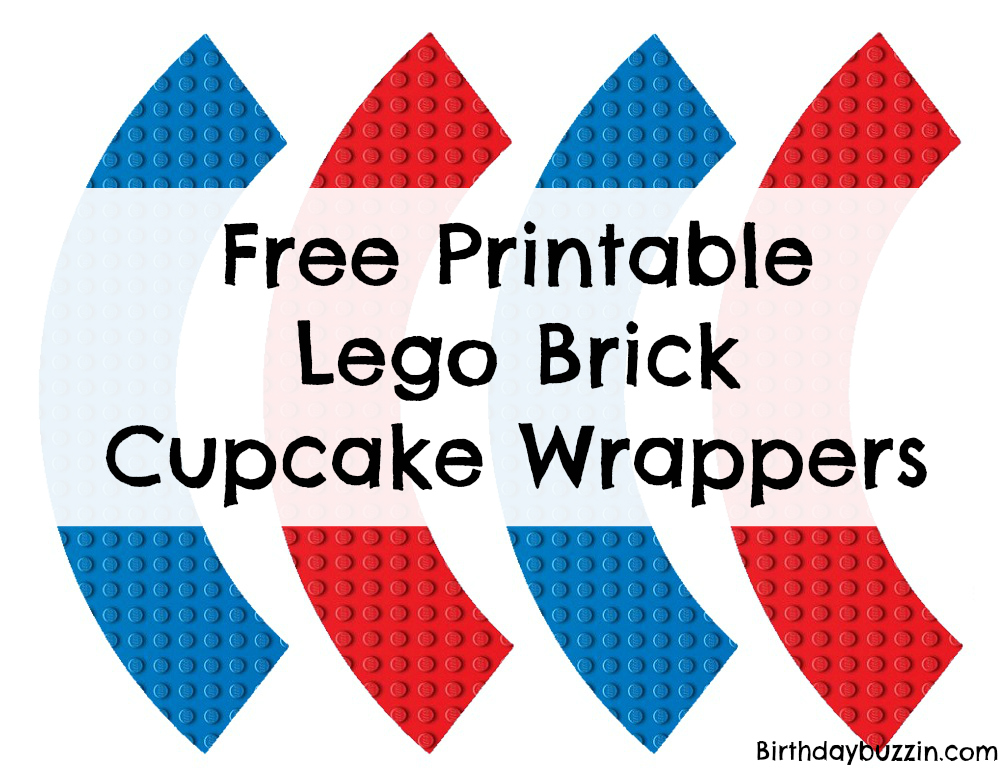 Free Lego brick cupcake wrappers