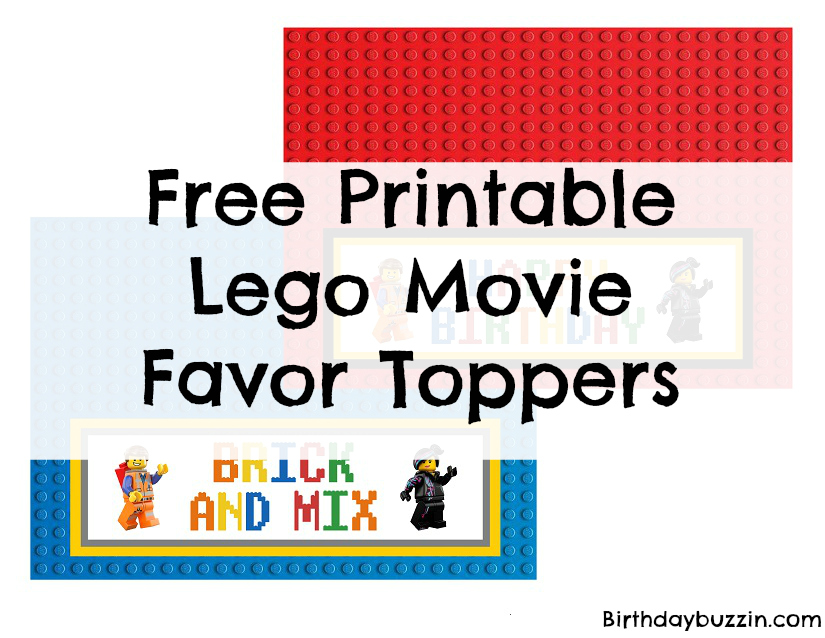 Free Printable Lego Movie favor Toppers