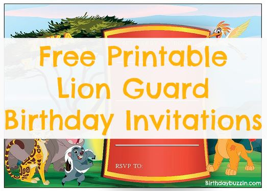 free printable Lion Guard birthday invitations
