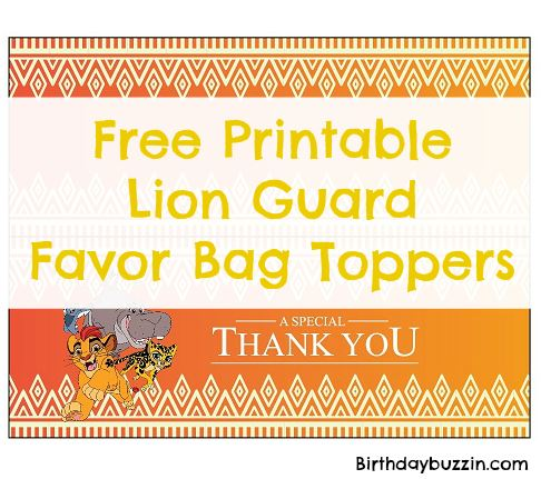 free printable Lion Guard favor bag toppers