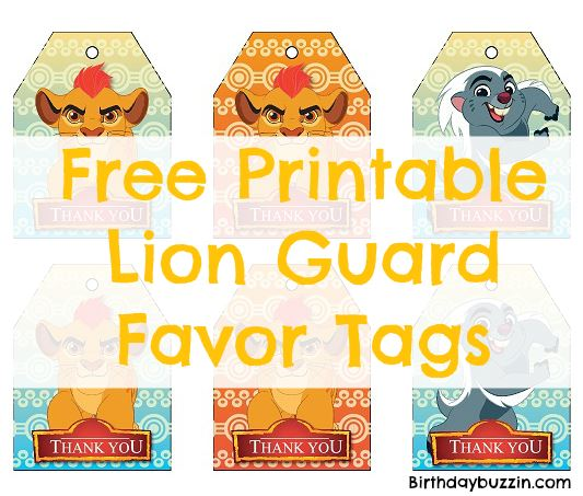 free printable Lion Guard favor tags