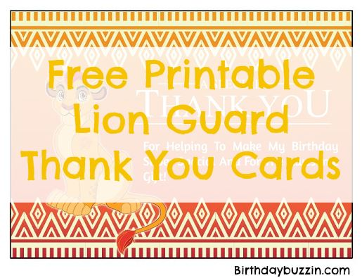free printable Lion Guard thank you cards