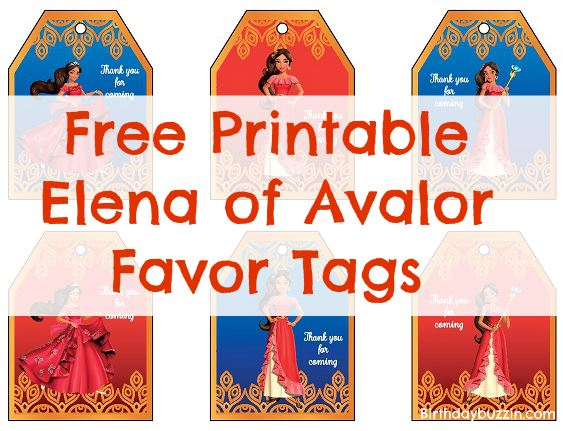 free printable elena of avalor favor tags