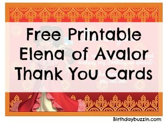 free printable elena of avalor thank you cards