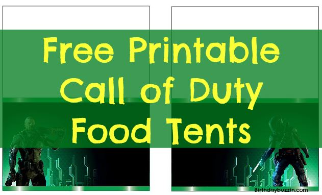 free printable Call of Duty food tents