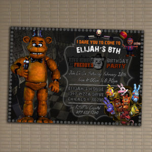 Five Nights At Freddys Birthday Party Invitations