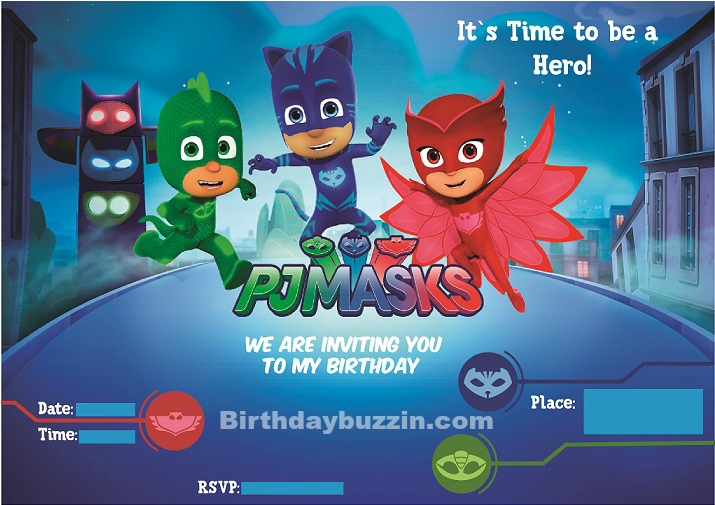 Free Printable Pj Masks Birthday Invitations Birthday Buzzin