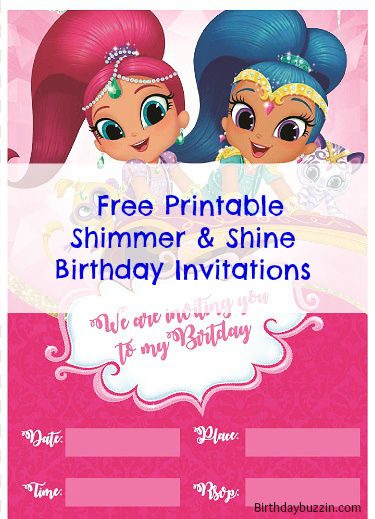 Free Printable Shimmer And Shine Birthday Invitations