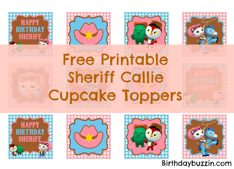 photograph relating to Sheriff Callie Printable called Cost-free Printable Sheriff Callie Cupcake Toppers Birthday Buzzin