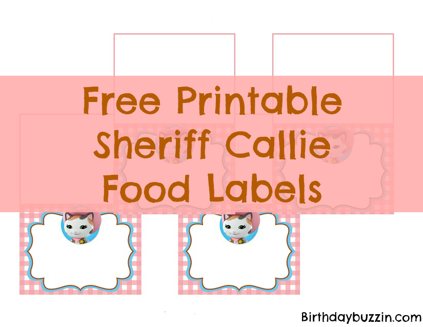 photograph regarding Sheriff Callie Printable called Absolutely free Printable Sheriff Callie Food items Labels Birthday Buzzin