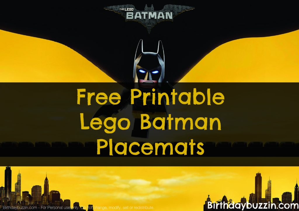 free printable lego batman placemats