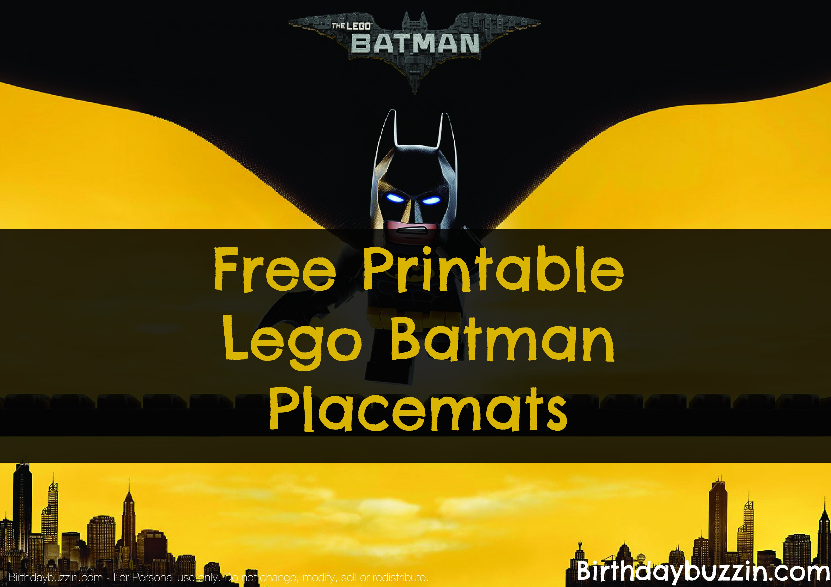 graphic about Lego Batman Printable referred to as Free of charge printable Lego Batman Placemats Birthday Buzzin