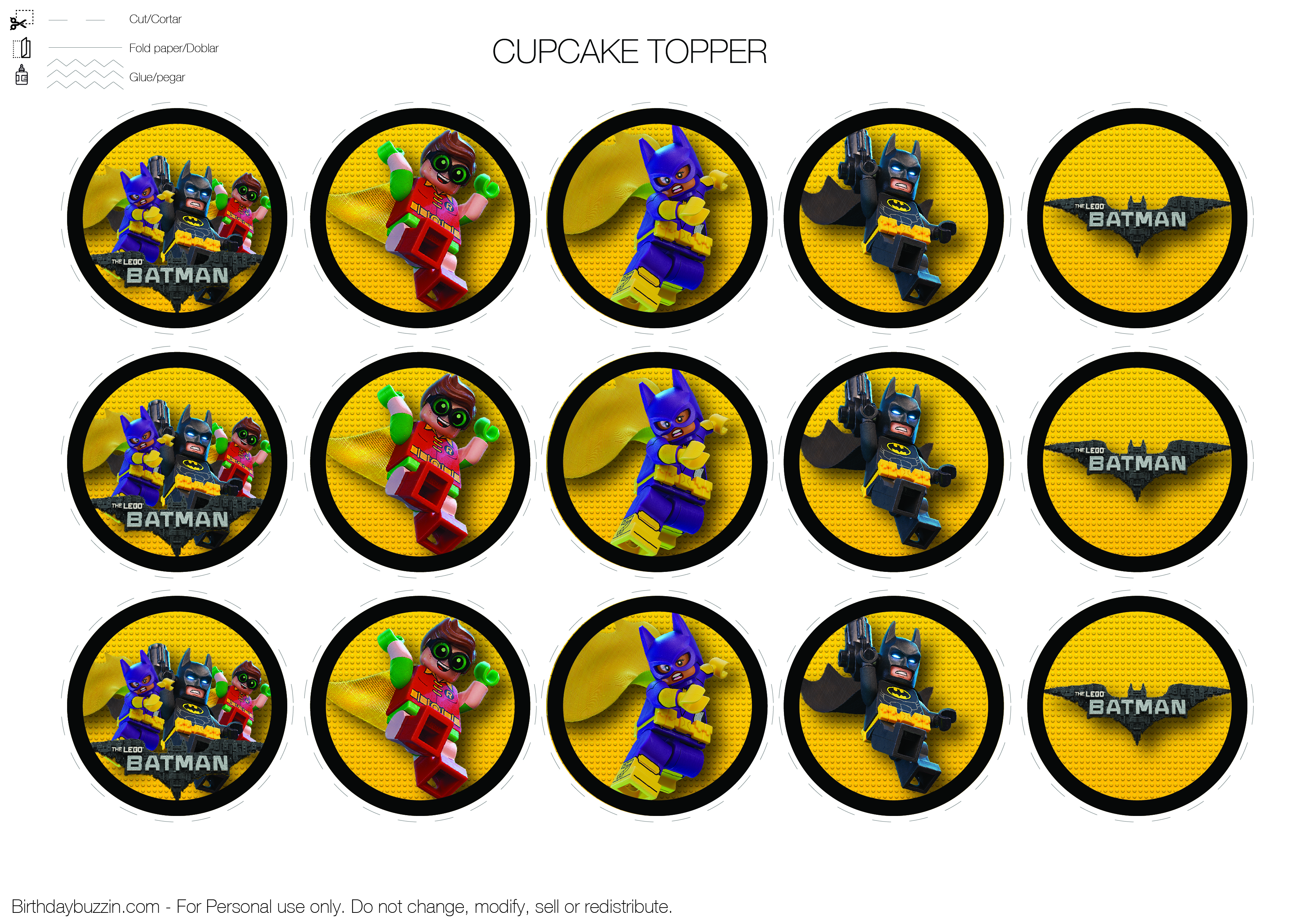 graphic relating to Batman Cupcake Toppers Printable named Lego-Batman-Cupcake-Topper Birthday Buzzin