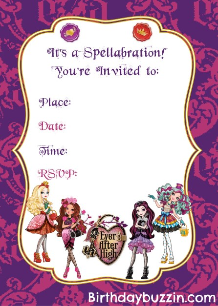 Free Printable Ever After High Birthday Invitations ...