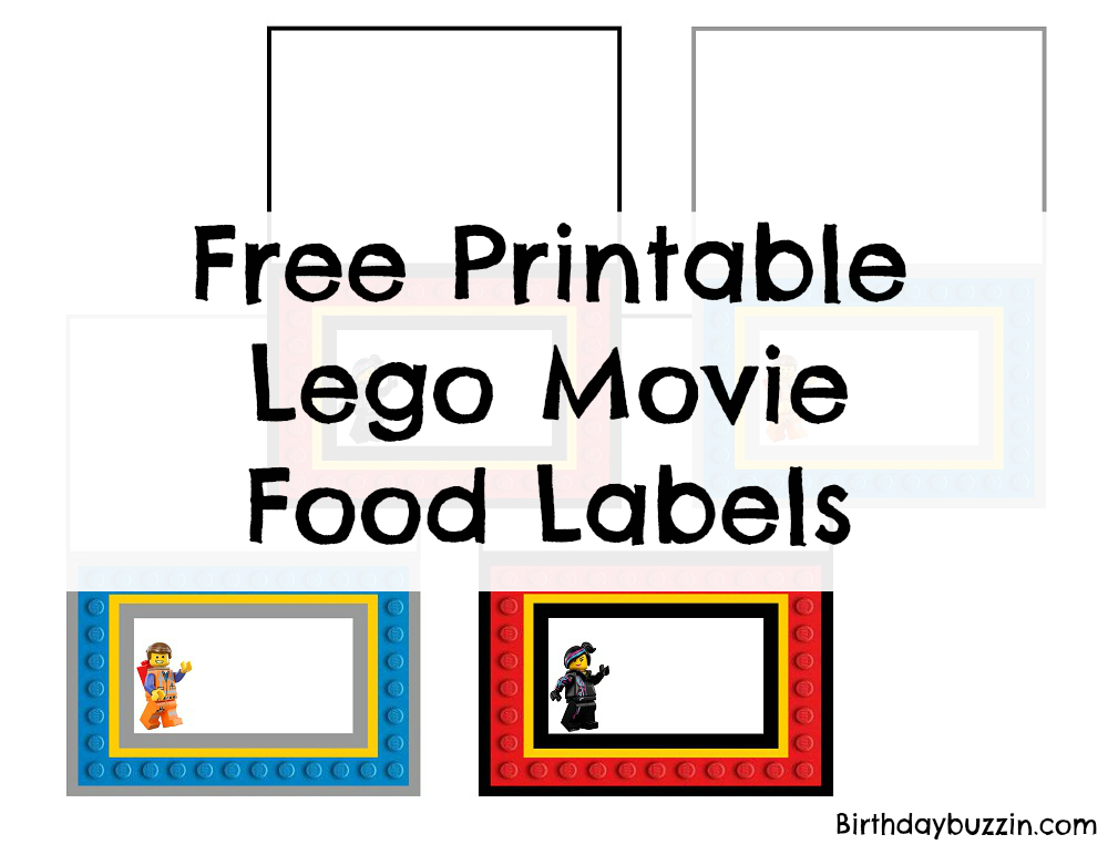 picture regarding Free Printable Food Labels titled No cost printable Lego Video clip Food items labels Birthday Buzzin