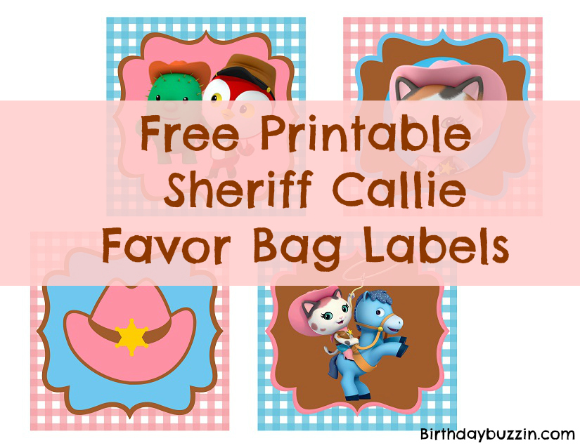 image relating to Sheriff Callie Printable identified as Absolutely free Printable Sheriff Callie Desire Bag Labels Birthday Buzzin