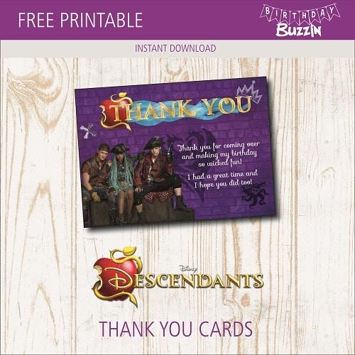 free printable descendants 2 thank you cards