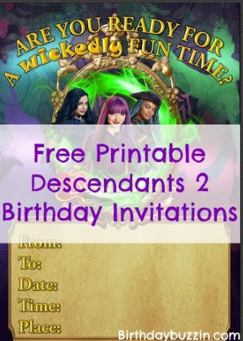 Free printable descendants 2 birthday invitations birthday buzzin filmwisefo