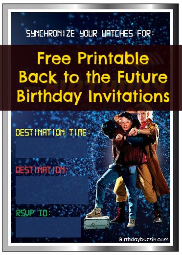 free printable back to the future birthday invitations