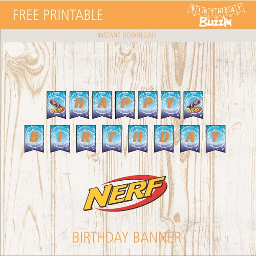 photo relating to Free Printable Happy Birthday Banner named Totally free Printable Nerf birthday banner Birthday Buzzin