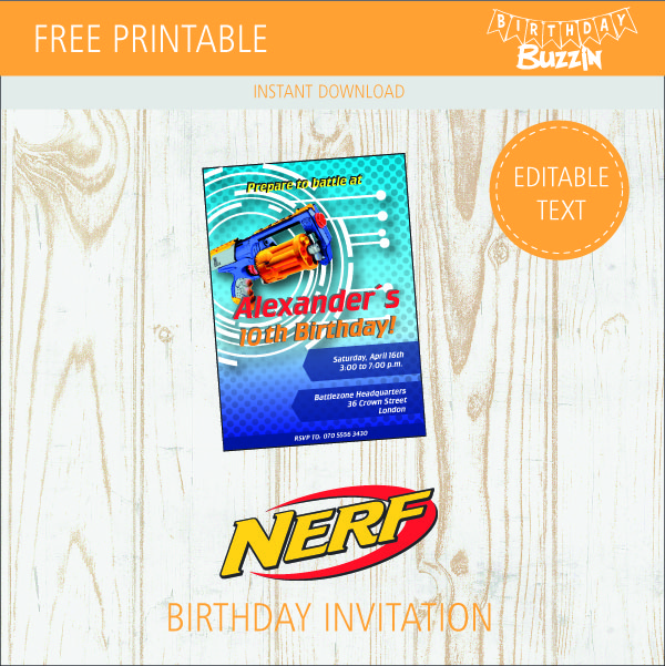 Superb image throughout free printable nerf birthday invitations