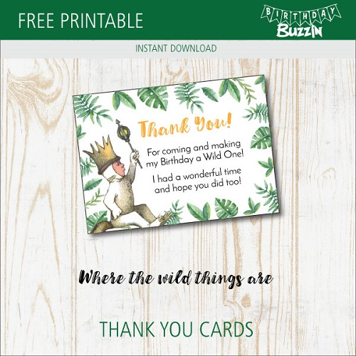 picture about Thank You Cards Free Printable named Free of charge Printable Where by the Wild Variables are Thank On your own playing cards