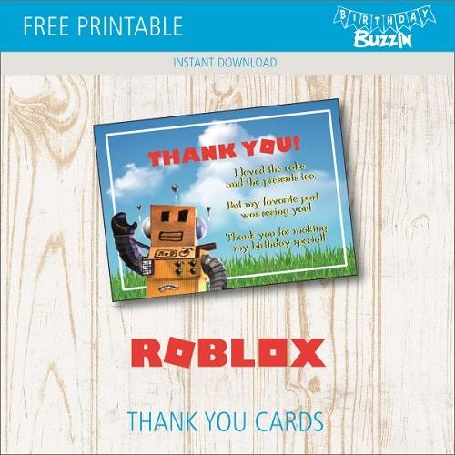 Free Printable Roblox Thank You Cards Birthday Buzzin