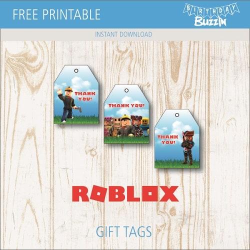 Free Printable Roblox Favor Tags Birthday Buzzin