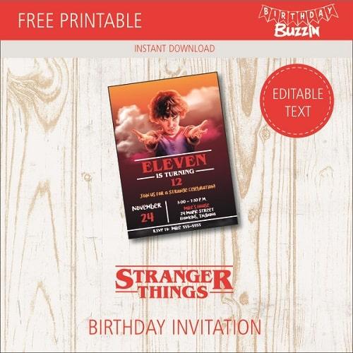 Free Printable Stranger Things Birthday Invitations