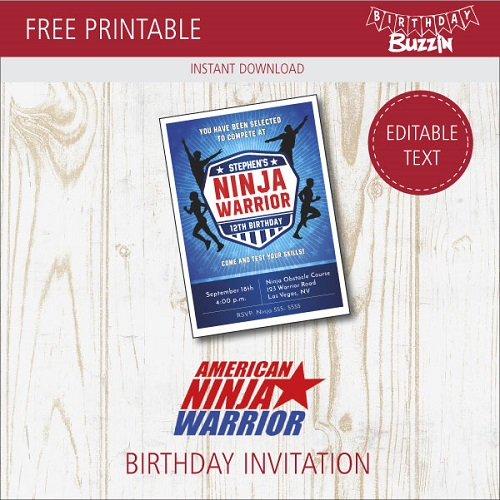 Free Printable American Ninja Warrior Birthday Invitations