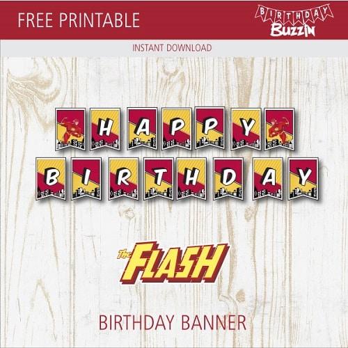 free printable the flash birthday banner