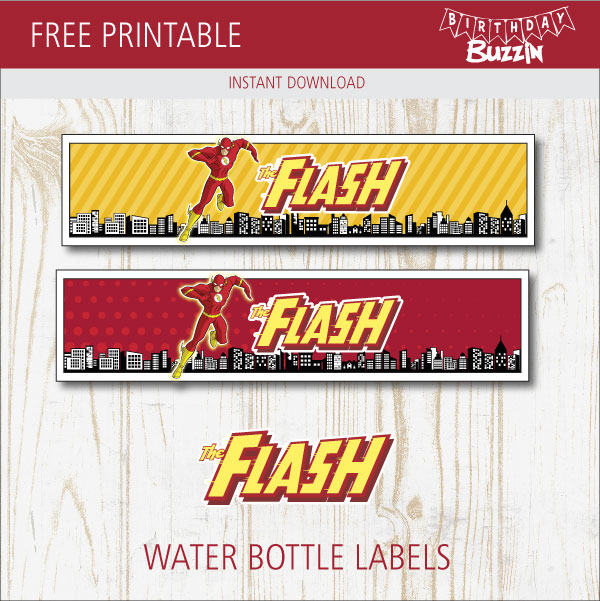 free printable the flash water bottle labels
