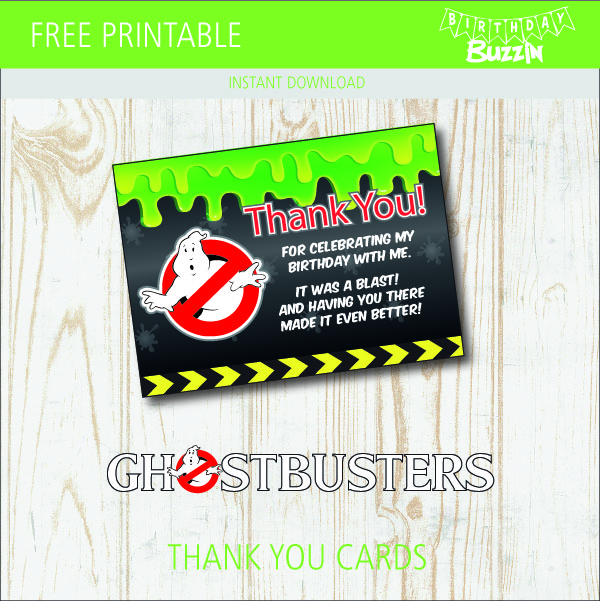 image relating to Ghostbusters Printable identify Free of charge printable Ghostbusters Thank Oneself Playing cards Birthday Buzzin