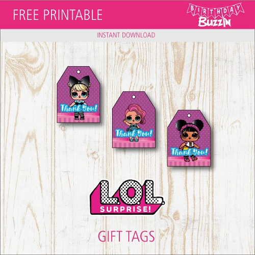 image about Free Printable Favor Tags referred to as Absolutely free Printable LOL Question Choose Tags Birthday Buzzin